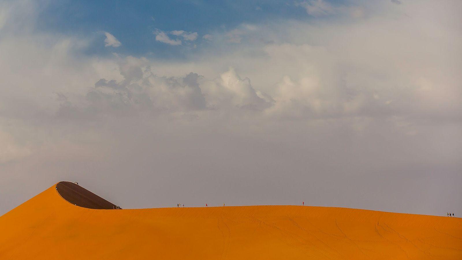 Face à l'immensité des dunes du désert du Namib, la silhouette des visiteurs est à peine ...