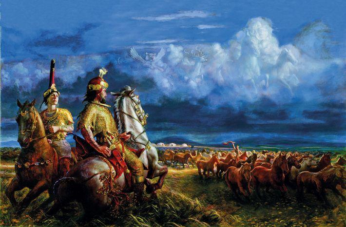 Toute d'or vêtue, une reine scythe et son époux surveillent leur troupeau dans cette peinture réalisée ...