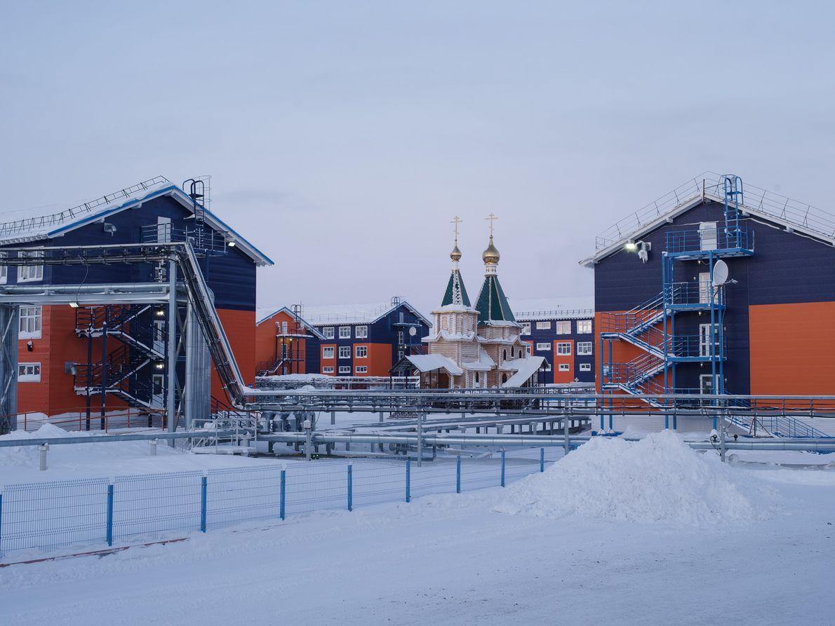 Cette église orthodoxe russe à Sabetta fut consacrée en 2016 par le Patriarche de Moscou et ...