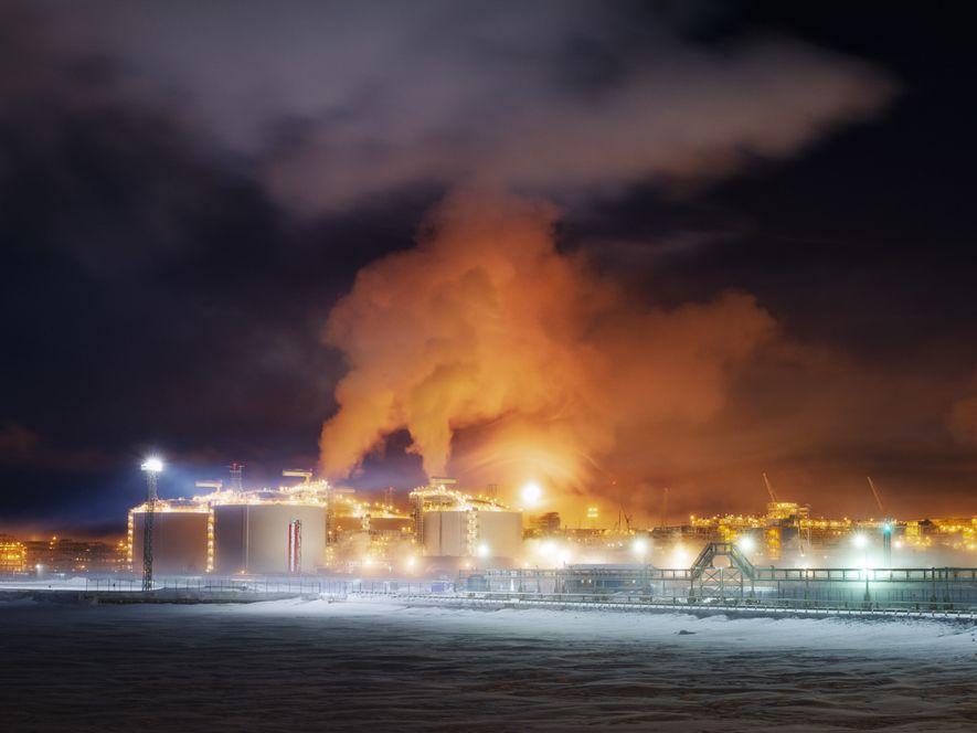 L'usine de Sabetta un matin de février vers 3 h. En février de cette année, l'usine ...
