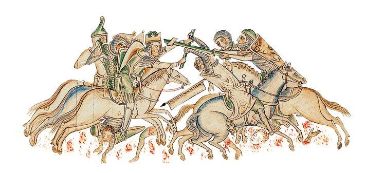 La prisede la Vraie Croix en 1187 par Saladin a inspiré la Croisade des enfants.Gravure de ...