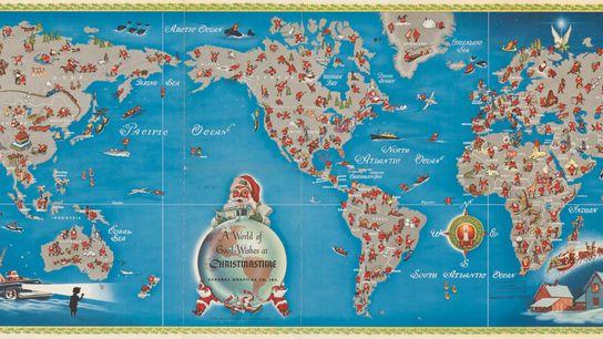Cette carte du voyage du Père Noël dans la nuit du 24 au 25 décembre est ...