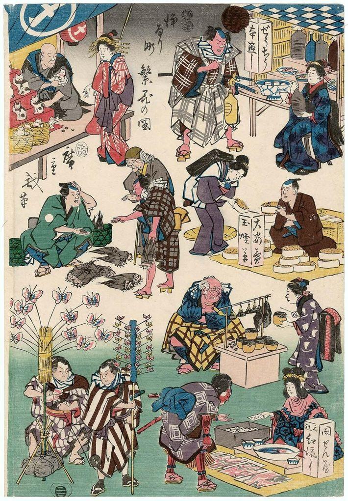 Réalisée en 1852 par Utagawa Hiroshige, cette gravure sur bois de style ukiyo-e issue de la série « Affaires ...