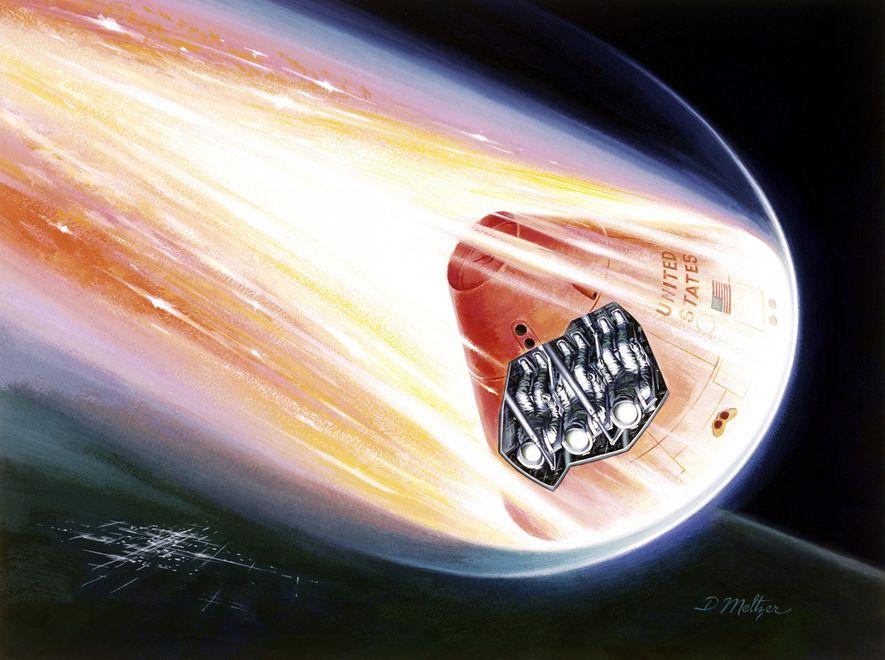 Alors qu'un vaisseau spatial Apollo pénètre dans l'atmosphère terrestre, les trois astronautes, protégés par le bouclier ...