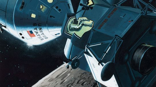 Illustrations show NASA's expectations for the Apollo 11 moon landing, including crew squeezing feet-first into the ...