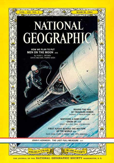 Cette couverture du magazine National Geographic montre un astronaute du programme Gemini flottant dans l'immensité de ...