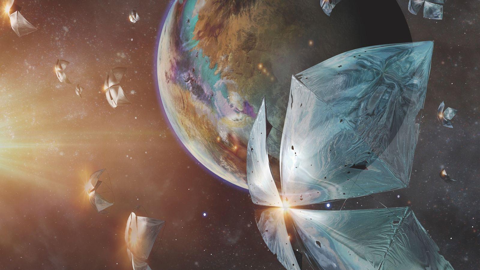 Un minuscule engin spatial se déplace en direction de la planète Proxima Centauri b dans cette ...