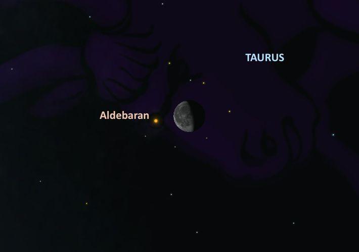 Le 12 septembre, certains observateurs pourront apercevoir l'étoile Aldébaran se glisser derrière la Lune.