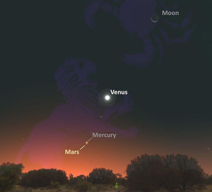 Partez à la recherche de Mars et Mercure qui se rejoindront avant le coucher du soleil.
