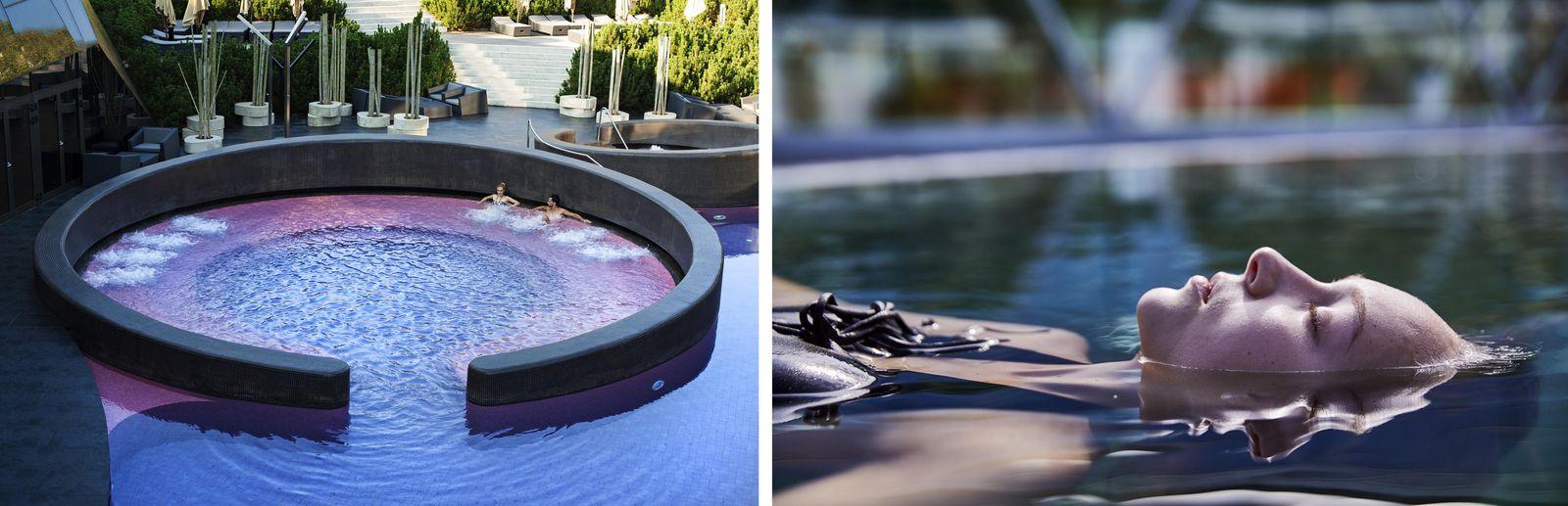 Gauche : Relaxez-vous dans les somptueuses piscines des thermes Olimia. Droite : Immergez-vous dans l'eau riche en ...