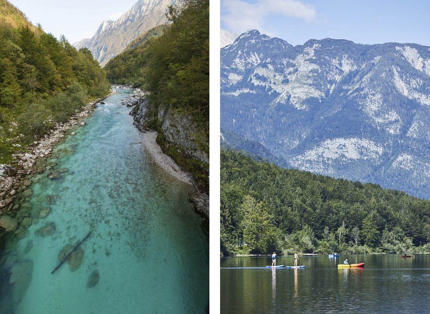 Gauche : Les eaux turquoise de la rivière Soča offrent une multitude d'activités aux aventuriers en quête d'adrénaline.  Droite : Le paisible lac Bohinj. Entre bateau, kayak, baignade et paddleboard, vous aurez l'embarras du choix.