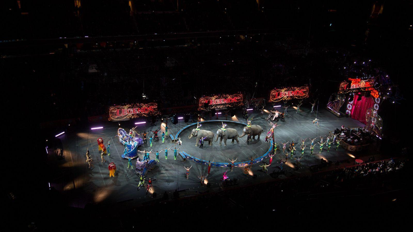 Des éléphants réalisent leur numéro lors d'un spectacle du cirque Ringling à Washington en 2015. Le ...