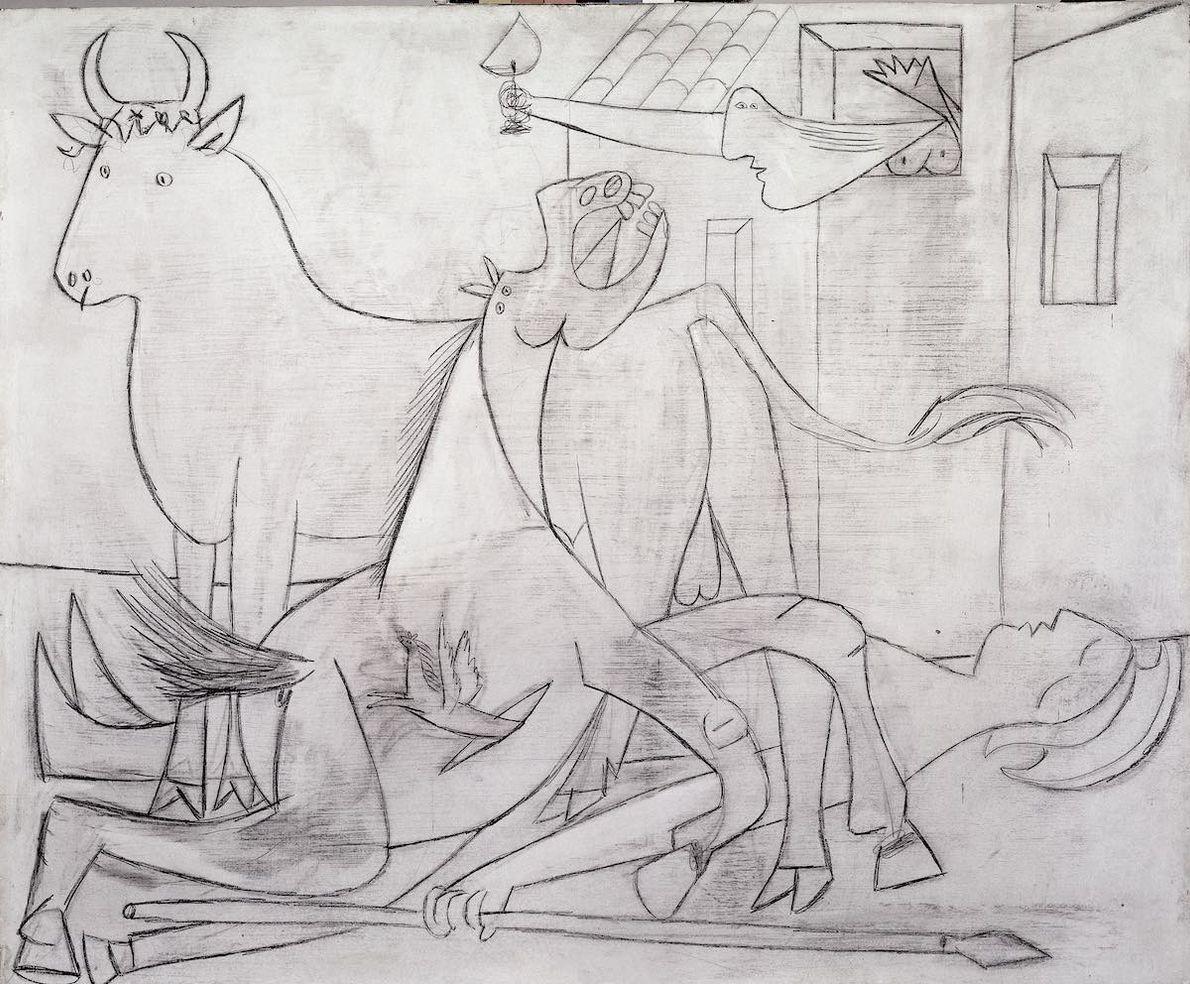 Le 1er mai 1937, Picasso réalisa la première ébauche de Guernica. Le taureau et le cheval ...
