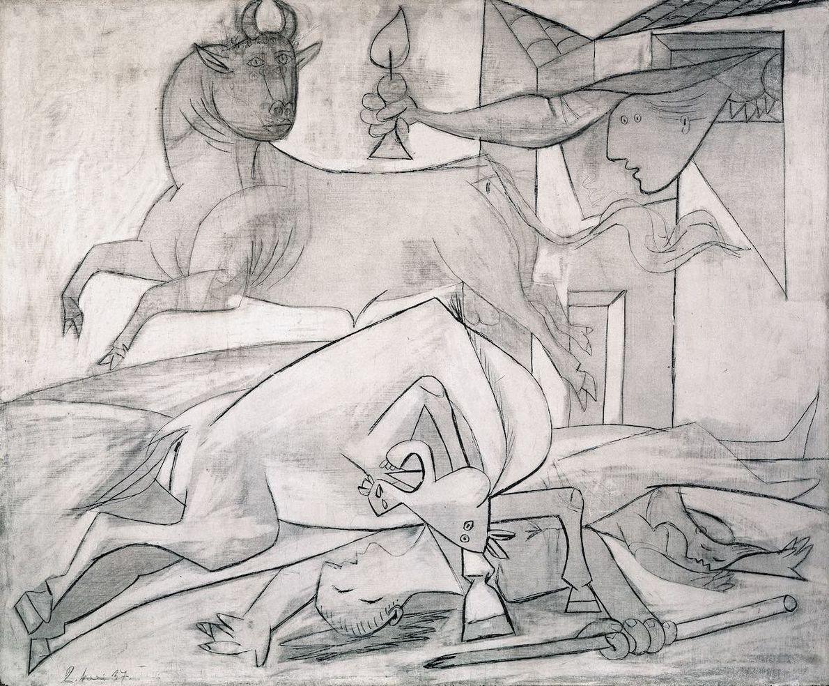 Si les figures centrales restent les mêmes, Picasso a fait de nombreuses versions de cette oeuvre. ...