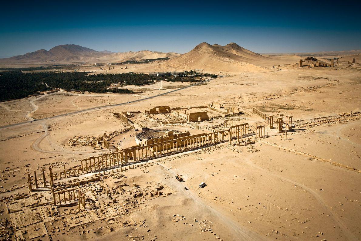 Une vue aérienne de Palmyre prise avant que DAESH n'occupe le site en 2015. Lla ville ...
