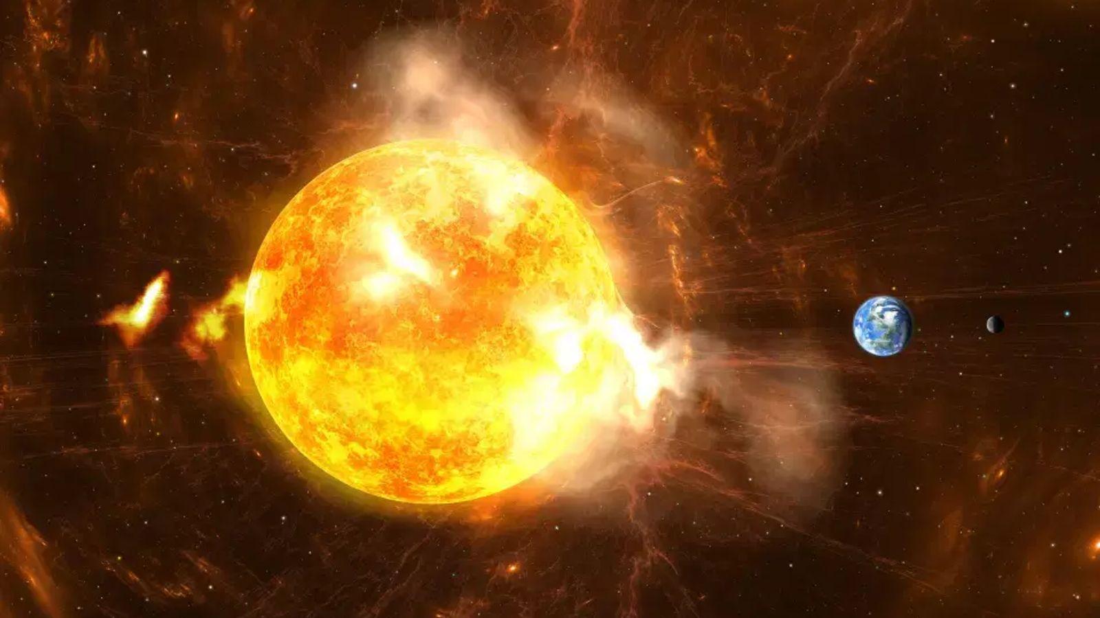 Illustration représentant des éruptions solaires géantes.