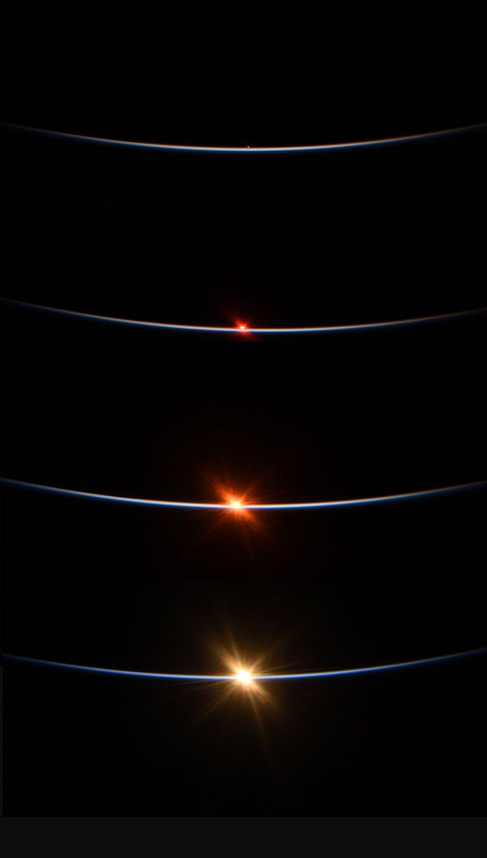 Cette compilation de quatre photos montre un lever de soleil, capturé le 27 juillet par Behnken ...