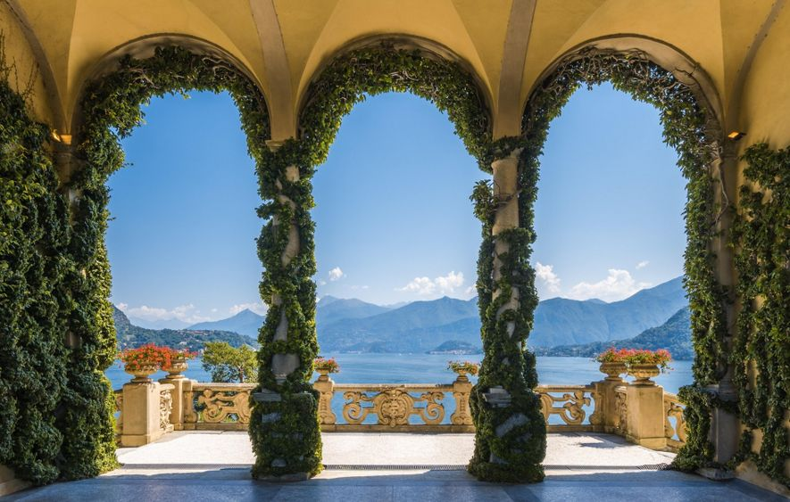 La Villa del Balbianello sur les rives du lac de Côme, en Lombardie. Jadis habitée par ...