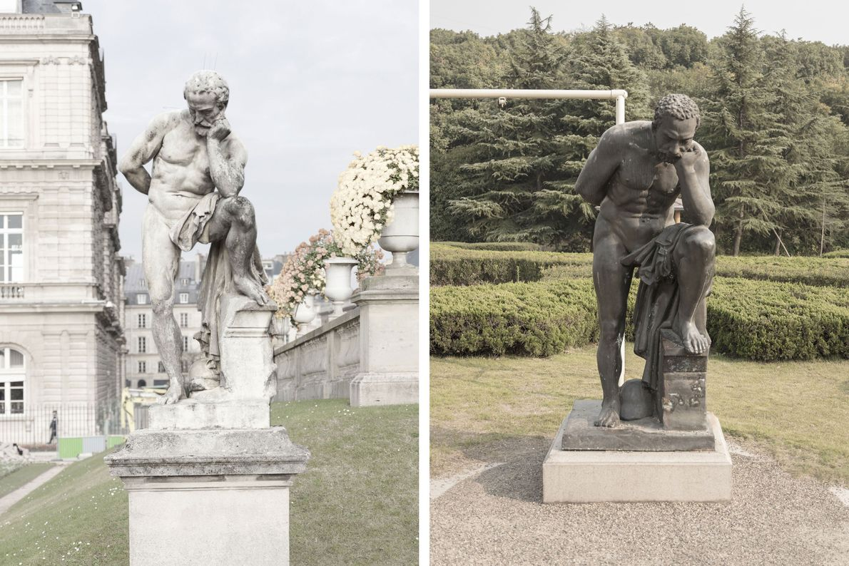Une statue de marbre à Paris (à gauche) est reproduite différemment à Tianducheng  (à droite).