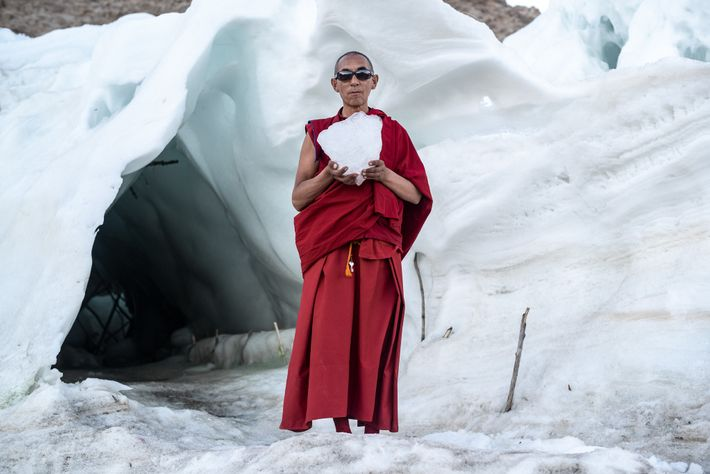 LE BOIS DES MOINES -Gyen Rigzen, supérieur du monastère du village de Phyang, tient un morceau ...