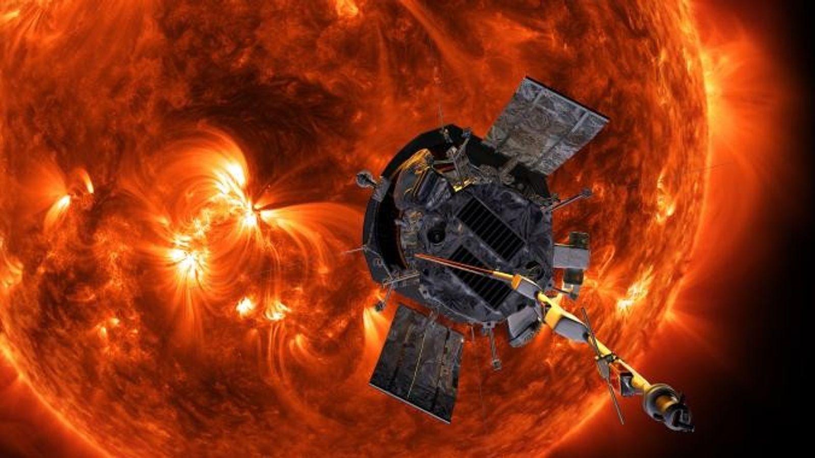 Illustration de Parker Solar Probe s'approchant du Soleil.