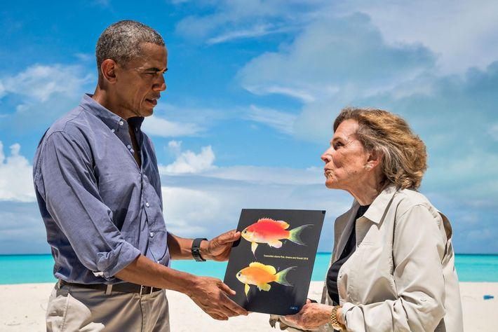 En septembre 2016, Sylvia Earle a rencontré le président Obama dans les îles de Midway afin ...