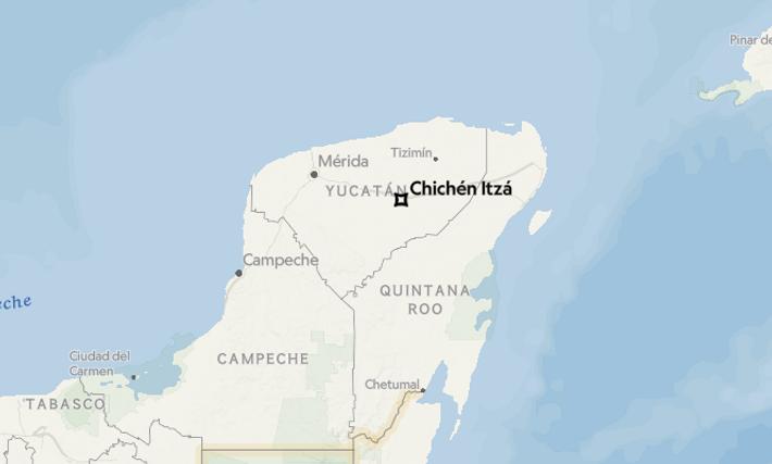 Carte de la région mexicaine dans laquelle ont été faites les récentes découvertes archéologiques.
