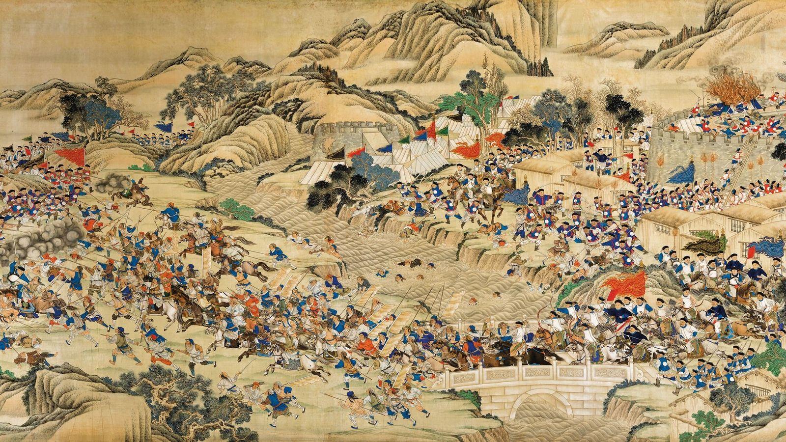 Ce tableau du 19e siècle représente la retraite des rebelles Taiping poursuivis par l'armée impériale chinoise lors ...
