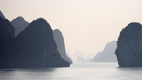 Les pitons karstiques de la baied'Hạ Long (Viêt nam) sont le fruit d'une érosion de plusieurs ...