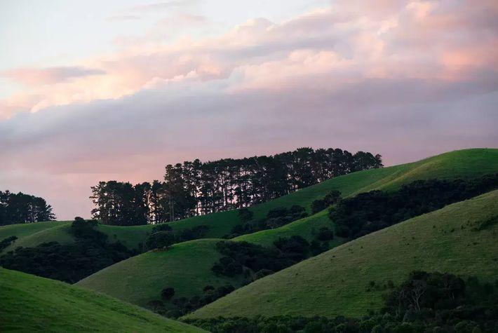 Le soleil se couche derrière les collines de The Landing, près de Kerikeri.