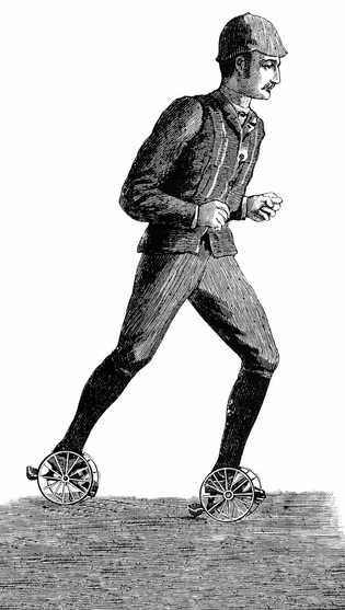 Inspiré du tricycle, le patin à trois roues conçu par l'Anglais J. F. Walters en 1882 ...