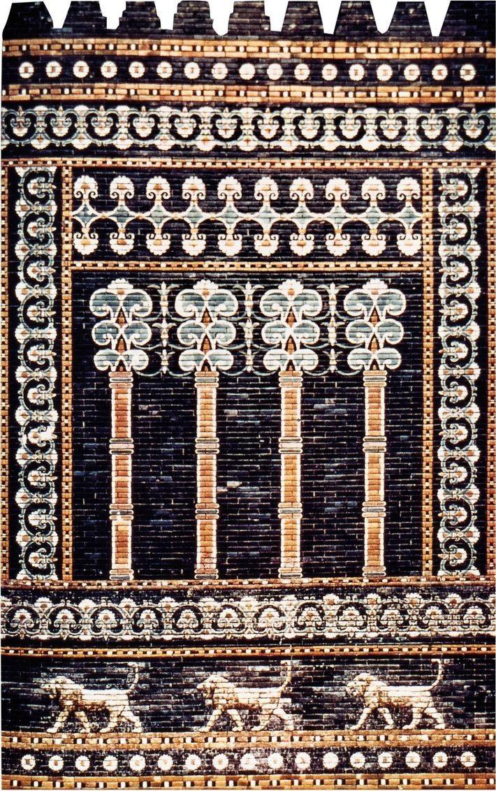 Briques émaillées en provenance de la salle du trône de Nabuchodonosor à Babylone. Musée des Antiquités ...