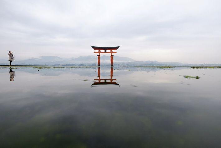 À Hiroshima, le torii flottant du sanctuaire d'Itsukushima est l'une des « Trois Vues » immortalisées ...