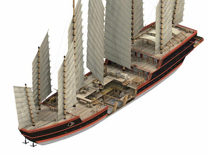 Les navires au trésor étaient les plus gros navires de la flotte de Zheng He. Ils sont ...