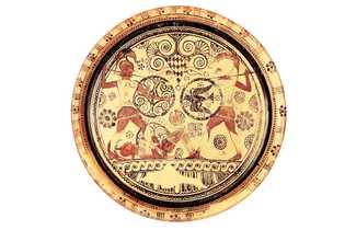 Ménélas et Hector s'affrontent sur le corps d'Euphorbe, un héros de Troie déchu. Céramique, VIIe siècle ...