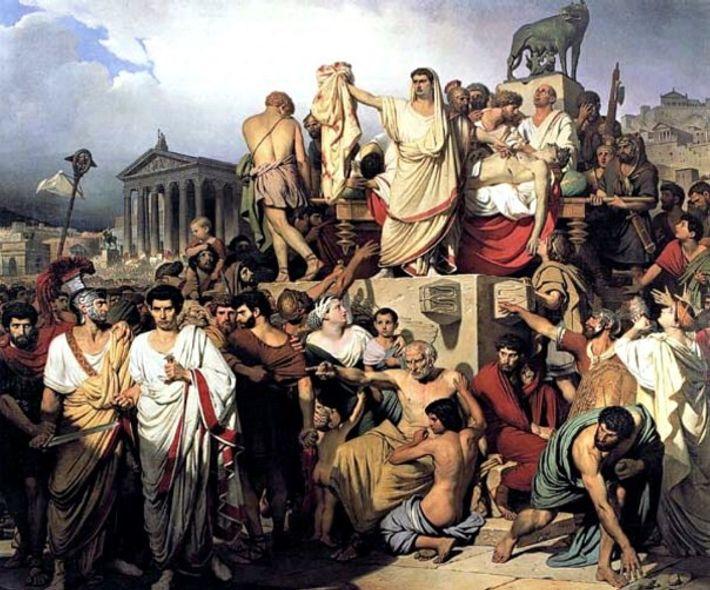 Le consul Marc Antoine présente la dépouille de son ami défunt à la foule massée devant ...