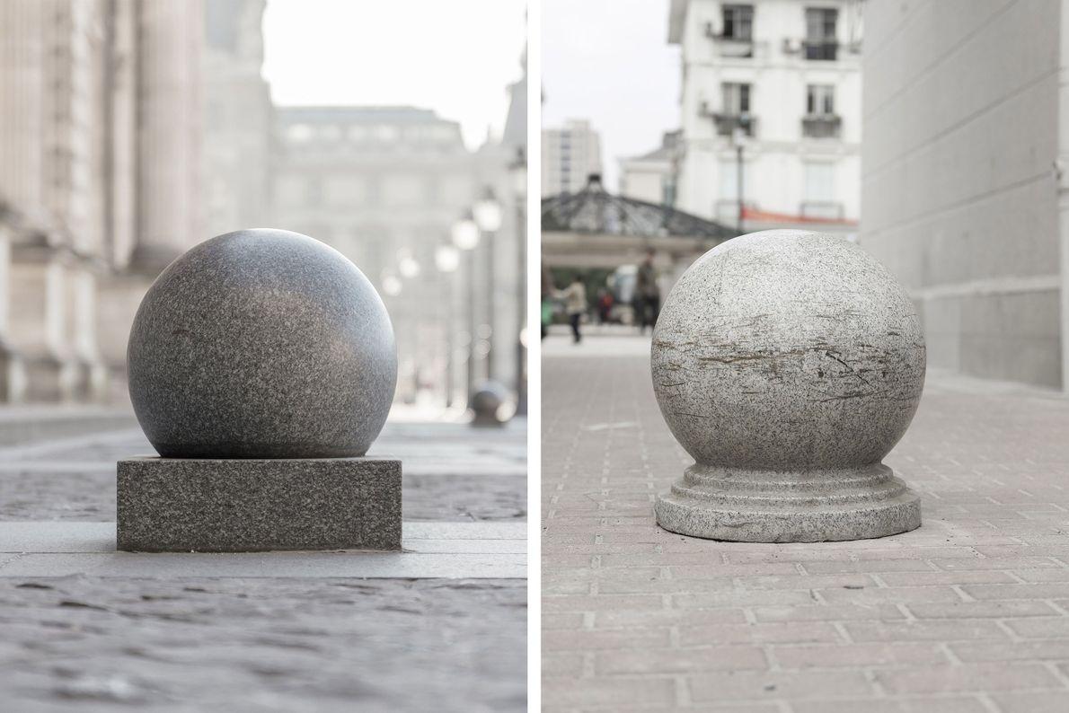 Ces pierres empêchant le passage des voitures que l'on trouve dans les rues de Paris (à ...