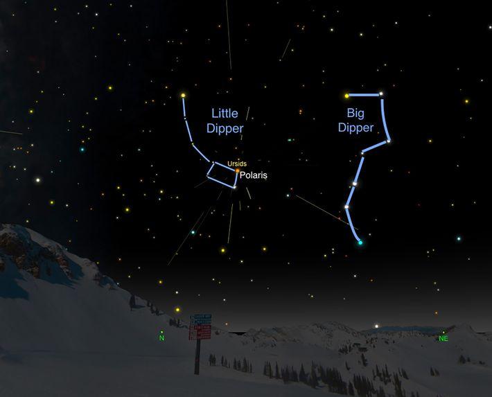 Les météores des Ursides semblent rayonner de la casserole de la Petite Ourse.