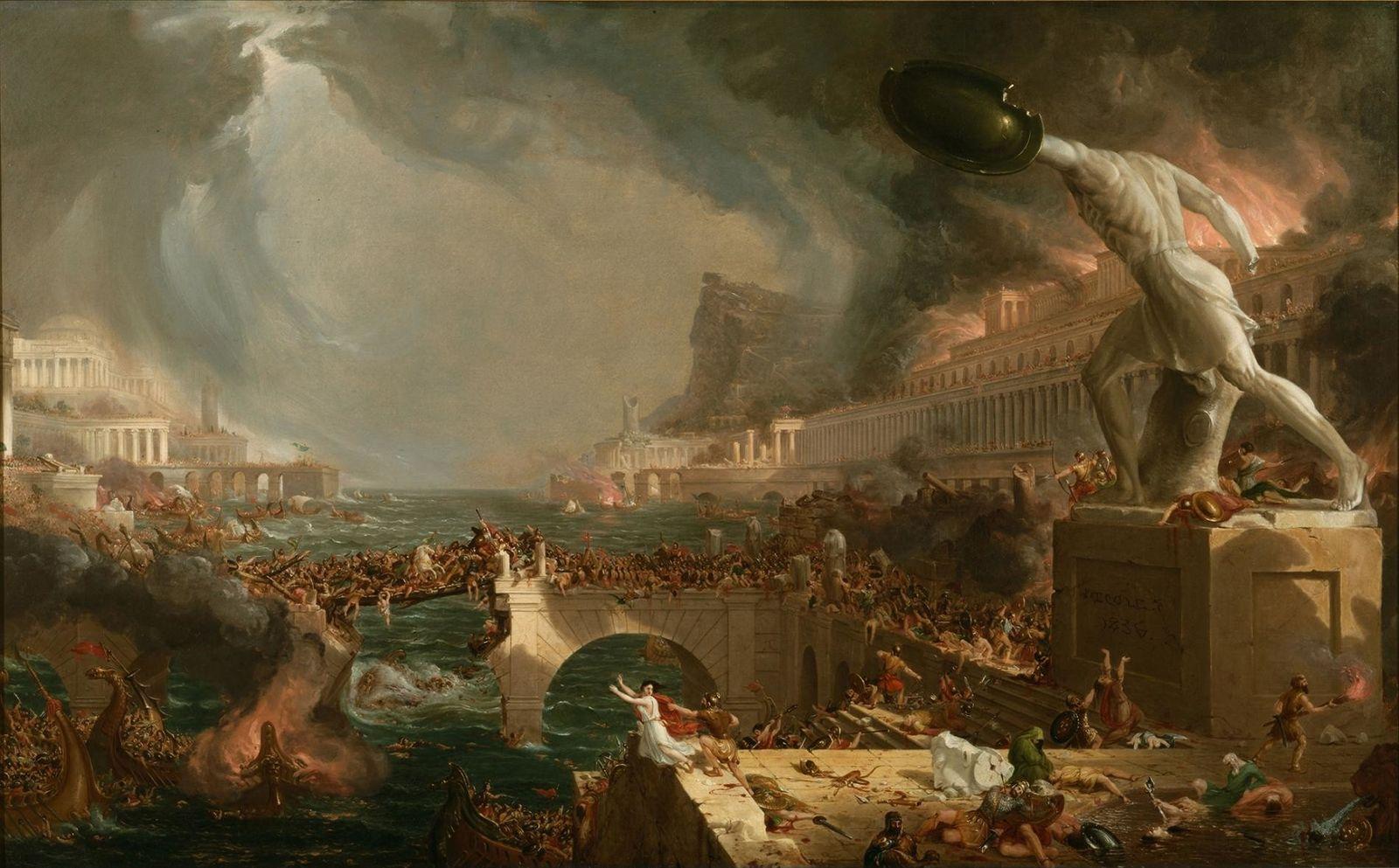 Le cours de l'Empire Destruction humaine (1836). Peinture de Thomas Cole.