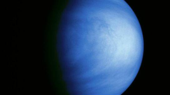 Cette photographie de Vénus, prise par la sonde Galileo le 14 février 1990 à une distance de plus ...