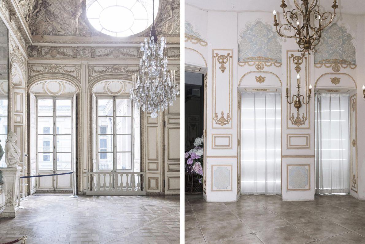 L'intérieur de ce bâtiment à Tianducheng (à droite) s'inspire de celui chargé de Versailles (à gauche).