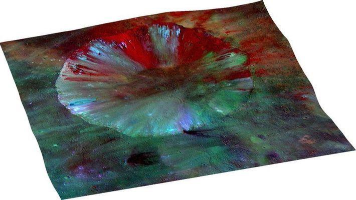 Une image récente du cratère Numisia sur Vesta, dont chaque couleur correspond à une composition minérale ...