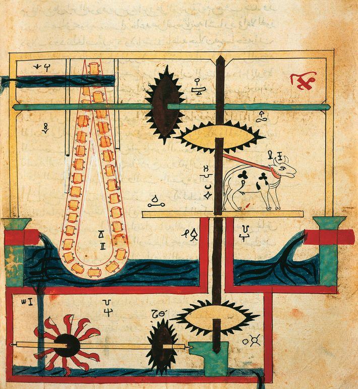 Le mécanisme interne d'une machine pour puiser l'eau dévoile la manière dont les engrenages dissimulés entraînent ...