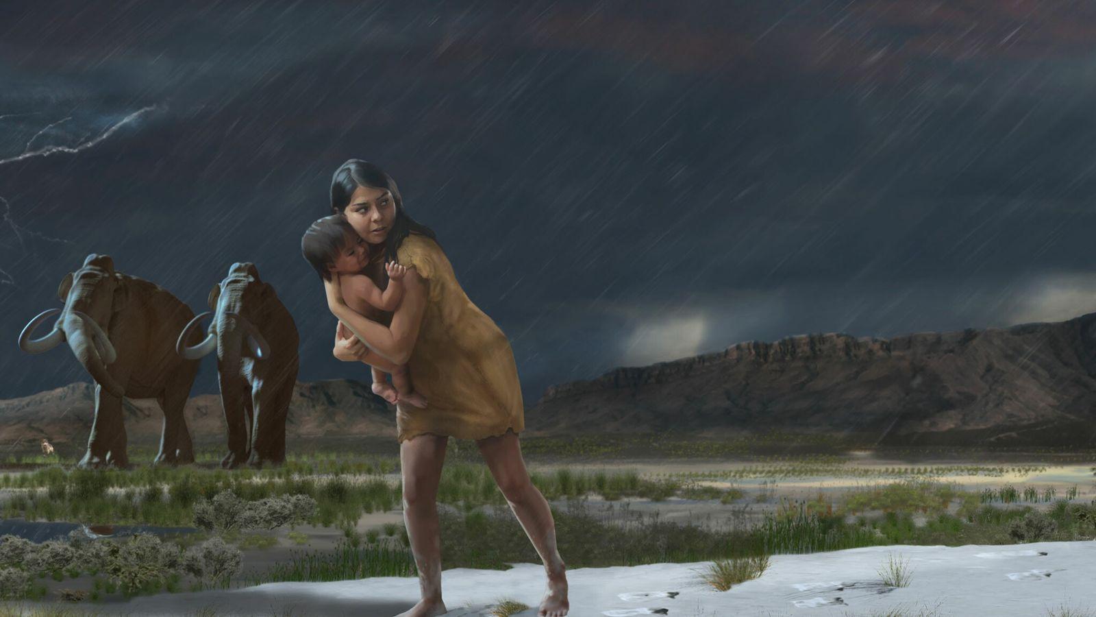 Il y a plus de 10 000 ans, une femme ou un jeune homme traversait une mare de ...