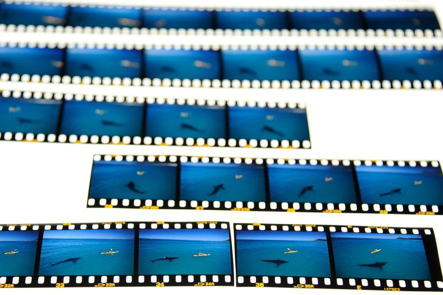Les négatifs de la pellicule originale montrent la scène image par image.