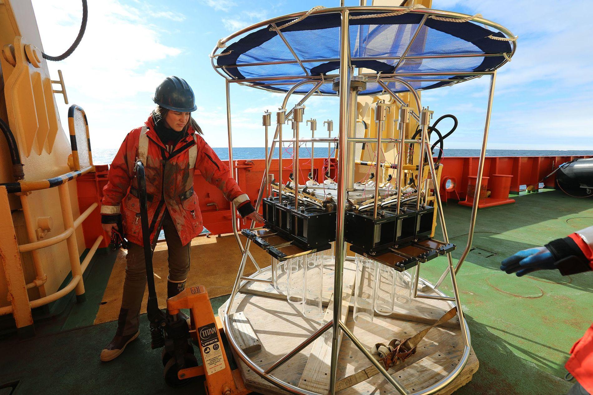 Rebecca Totten Minzoni de l'université d'Alabama prépare la machine Megacore qui viendra forer le sol de sédiments en Antarctique. L'objectif ? Mieux comprendre l'influence du climat sur la fonte des glaciers.