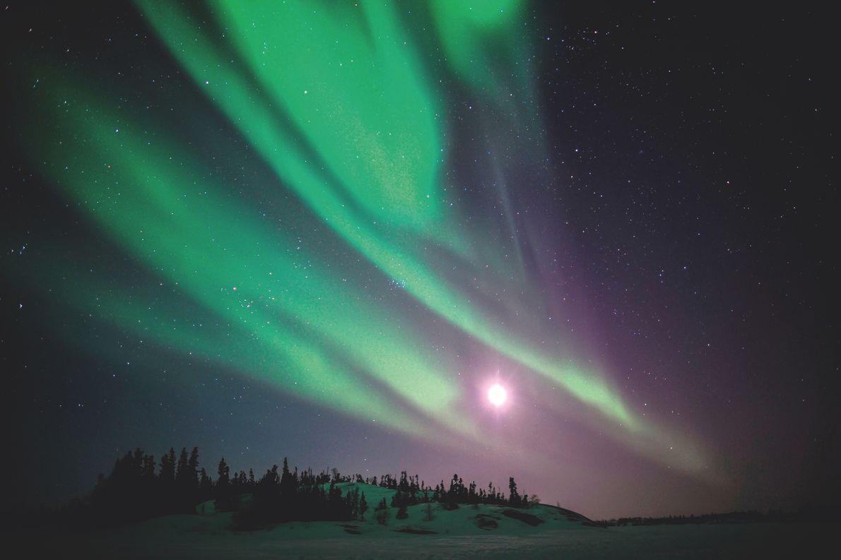 Yellowknife, Canada. Aurores boréales au-dessus de la route de glace du Grand lac des esclaves, dans le nord-ouest canadien.