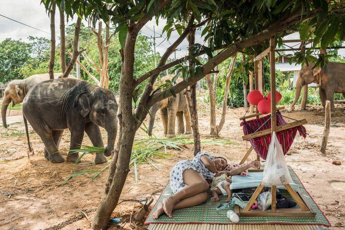 Âgée de 16 ans, Siriyupha Chalermlamn se repose avec sa fille, Joy, à l'extérieur de la ...