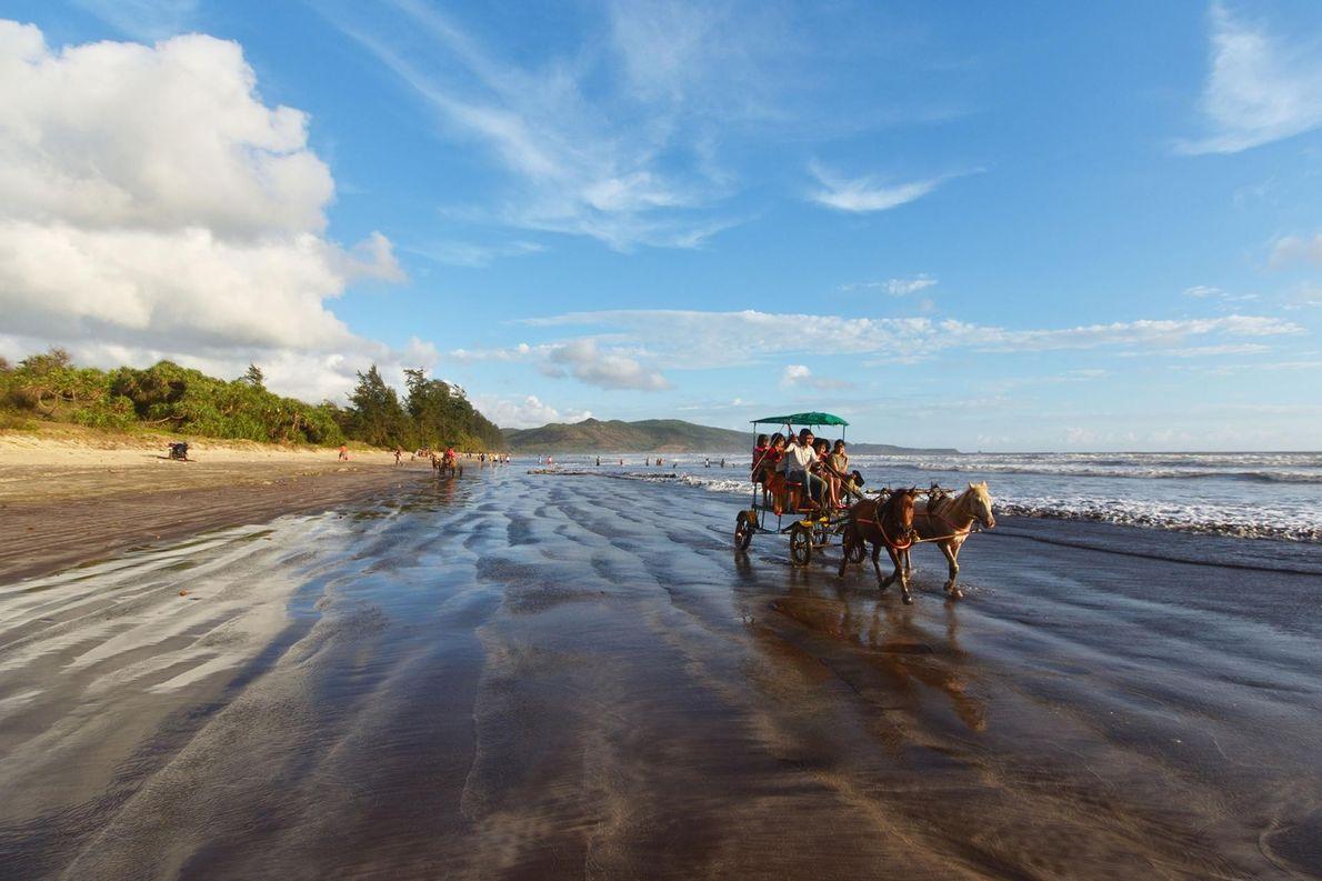 En Inde, sur la plage populaire de Maharashtra, des promeneurs profitent d'une balade en calèche tirée ...