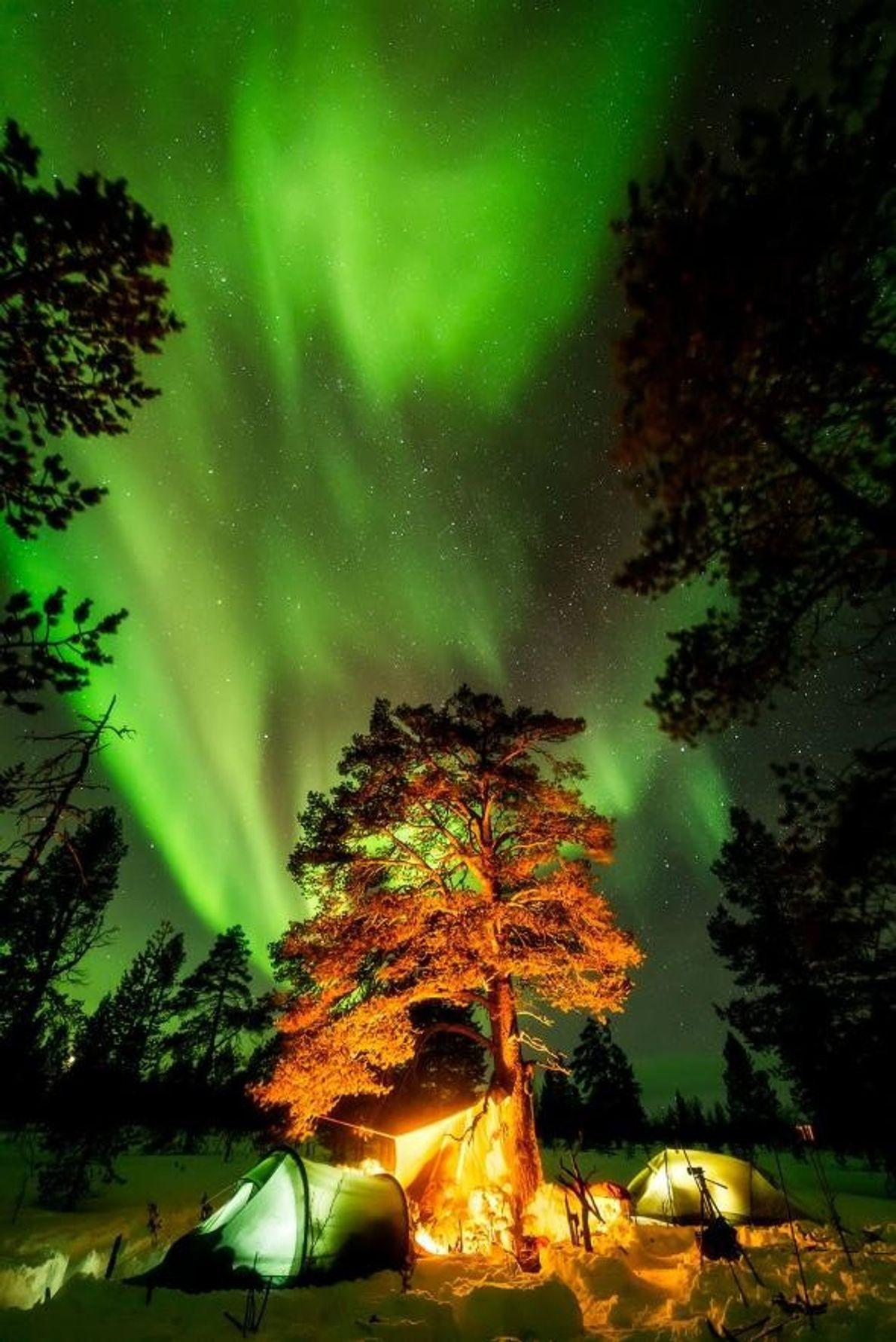 En Finlande, à 250 km au nord du cercle arctique, le ciel de Lemmenjokine, en Laponie, ...